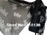 Fashion Ladies Big Royal Crowns Print Scarf Shawl Wrap Winter Spring Accessory, Free Shipping