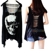 Fashion Tassel Back SKULL PUNK Singlet Tank Top long Tee Shirt  0341