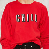 HDY Haoduoyi 2016 Autumn Women Fashion Solid Red Brief Letters Print Loose Sweatshirt Long Sleeve Crew Neck Pullover Sweatshirt