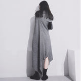 New 2016 European Woman Autumn Solid Black Grey Dress Very Long Sleeve Scarf Collar Loose Short Vestidos Women Dress Style 1803