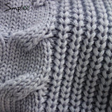 Simplee Apparel backless turtleneck sexy knitted pullover sweaters women Autumn tricot pull femme jumpers oversized fall fashion