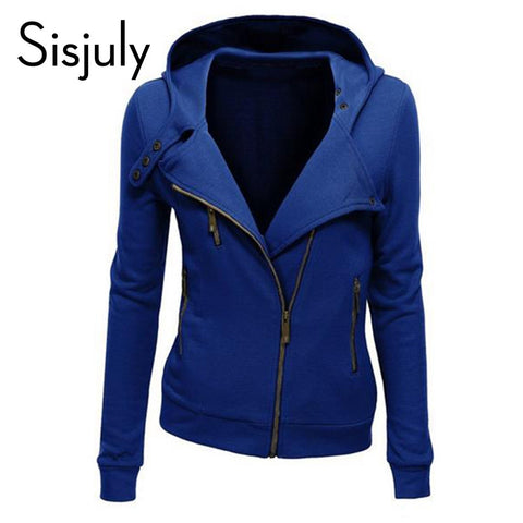 Sisjuly solid color hooded jacket long sleeve women's hoodies sweatshirts black zipper autumn winter outerwear coats fashion