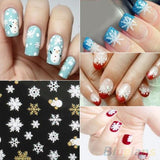 Snowflakes Snowman 3D Nail Art Stickers Decals Girl Fingernail Accessories