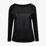 Spring Autumn 2016 Sweatshirts PU Patchwork Cropped Tops Tee Hoodies Full Sleeve O Neck Shirt Blouse Cheap Clothes