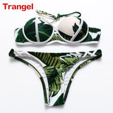 2017 New Sexy Women's  bikini Patchwork Neon Bikini Sets For Women Bandage Print Swimwear Swimsuit Halter Top