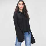 streetwear women hoodies sweatshirts extra long flare sleeves pullovers with hat 2016 autumn winter fashion new
