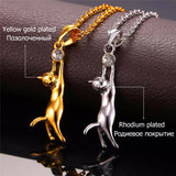 U7 Cute Cat Necklace & Pendant For Women Gift Rhodium/Gold Plated Wholesale Trendy Rhinestone Animal Pet Charm Jewelry Hot P379