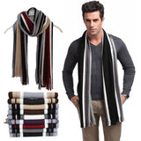 brand winter scarf men chic faux cashmere striped knitted scarfs with tassel,fashionable designer shawl Bussiness Casual scarves