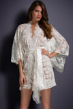 Women White Sexy Sleepwear US Domestic Delivery Free Size Elegant Night Dresses Belted Lace Pajamas for Ladies Kimono Nightwear