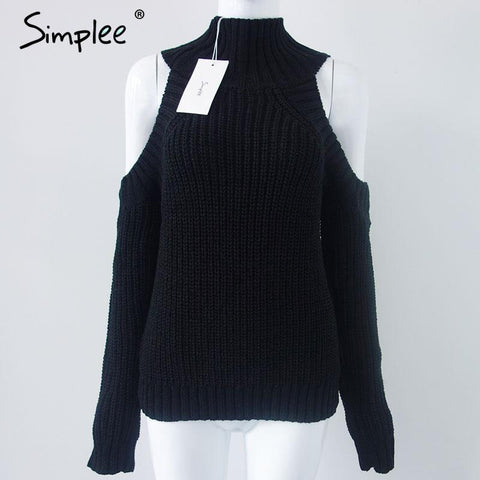 Simplee turtleneck off shoulder knitted sweater women autumn Fashion tricot pullover jumpers Pull femme oversized capes