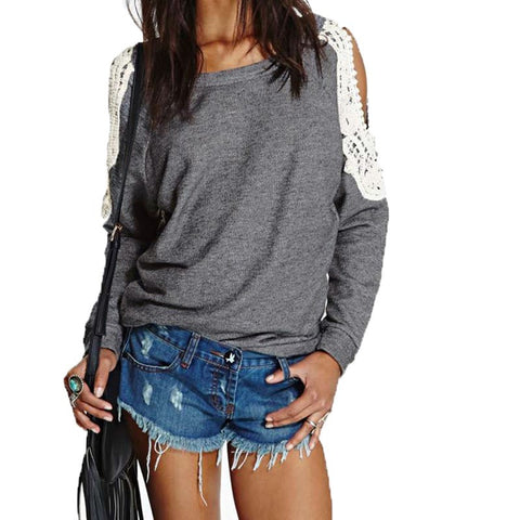 2016 Spring  Women Casual Sexy Lace Crochet Off Shoulder Long Sleeve Shirts Tops Blouse Hoodies Sweatshirts Plus Size