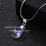 Crystal Necklace Water Drop Necklaces & Pendants Silver Chain Fashion Necklaces for Women Valentines Day Gift Jewelry