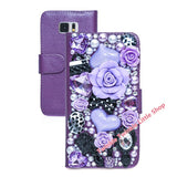 Hot Flower For Galaxy S6 Case Diamond Crystal Flip Wallet Leather Case For Samsung Galaxy S6 Phone Cases Accessories Protector