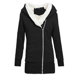2016  Autumn Winter Women Hoodies Warm Fleece Cotton Coats Zip Up Outerwear Hooded Sweatshirts Casual Long Jackets Plus Size