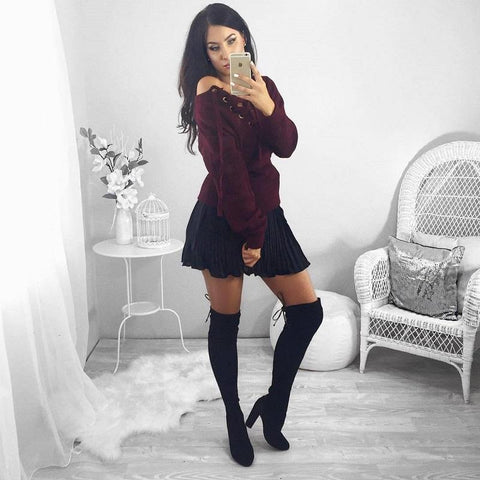 Autumn chic lace up sweatshirt Women tops v neck ladies sweatshirt warm hoodies Gray crop top long sleeve girls