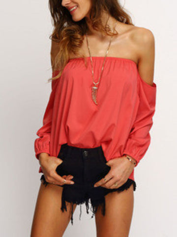 ♡ I'd rather have flowers in my hait - then diamonds around my neck ♡ Trendy Summer Fashion Red Off The Shoulder Long SLeeve Blouse