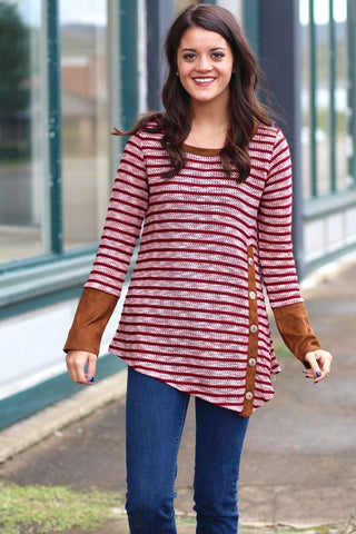 Button that Stripe Top {Burgundy}