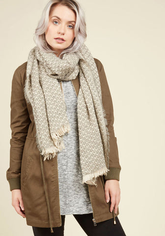 Destined Duet Scarf in Taupe | Mod Retro Vintage Scarves |