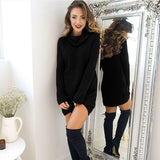 Solid Robe Long Sleeve Knitted Dress