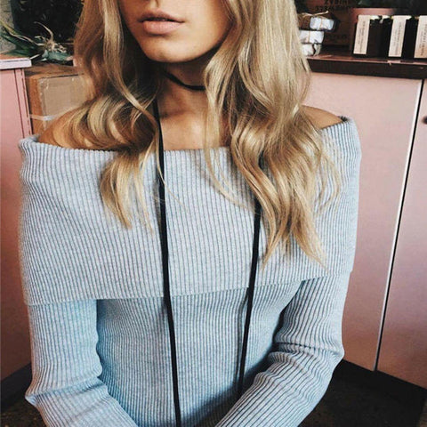 Layered Collar Off Shoulder Long Sleeve Sweater