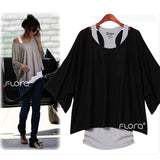 Bat Sleeve Asymmetric Blouse with Inner Tank Top