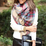 fashion Women Blanket Oversized Tartan Scarf Wrap Shawl lady girls Plaid Cozy warm Checked Pashmina (Color: Multicolor) = 1946725252