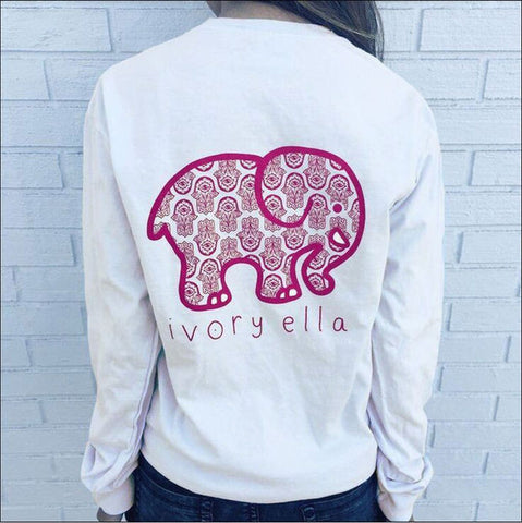 Fashion Women Popular White Ivory Ella Cartoon Elephant Printed Floral Printed Long Sleeve Top T-Shirt