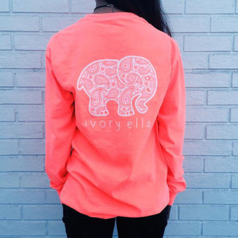 2016 Trending Fashion Pink Ivory Ella Cartoon Elephant Long Sleeve Round Necked Top Shirt T-Shirt