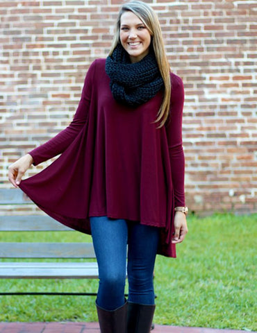 Sugar + Spice Tunic - Burgundy large size only