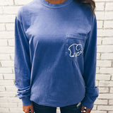 Blue Elephant Pattern One Pocket T-Shirt