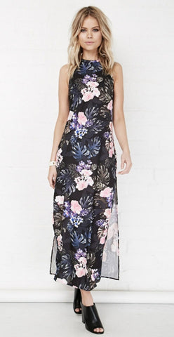 Floral Chiffon Maxi Dress with Slits