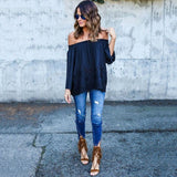 Boho Sexy Women's Off Shoulder Strapless Long Sleeve Tops Blouse Beach Shirts