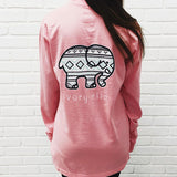Pink Elephant and Letter Print Long Sleeve T-Shirt