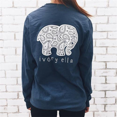 2016 Fashion Women Popular Navy Blue Ivory Ella Cartoon Elephant Printed Floral Printed Long Sleeve Top T-Shirt