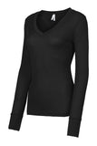 Womens Lightweight Long Sleeve V Neck Thermal Shirt
