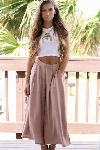 Namaste Taupe Solid Textured Culotte Pants only in larger