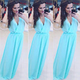 2016 Summer Women Casual Style V-Neck Fit And Flare Sleeveless Dress Solid Floor-Length Summer Long Dresses