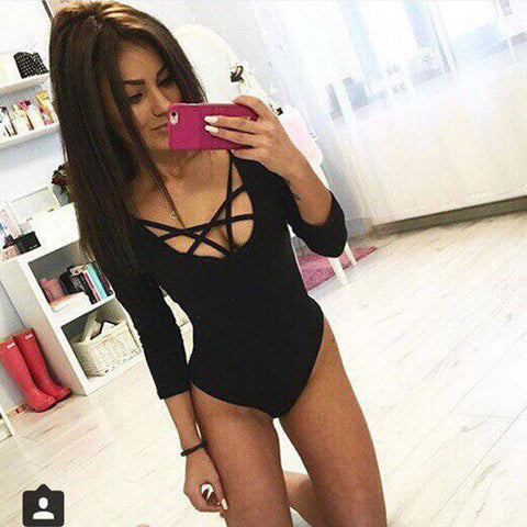 Women Jumpsuits 2016 Hottest Trendy Cross Strings Front Lace up Design Bandage Bodysuit freeshipping
