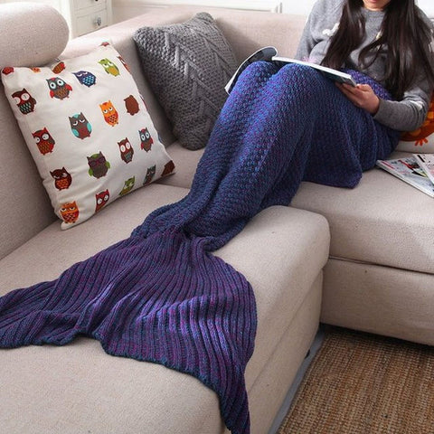 I am a Mermaid - Keep Warm Mermaid Tail Sofa Blanket Home - Autumn&Winter - Adult Children Baby +Free Christmas Gift -Random Necklace