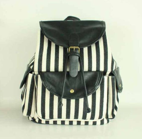 Black White Striped Travel Bag Canvas Lightweight College Backpack