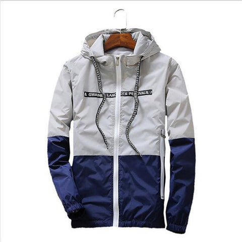 Men's Fashion Causal Hooded Thin Windbreaker Zipper Outwear Coat Jacket