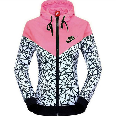 Women Fashion Printed Hooded Zipper Cardigan Jacket Windbreaker