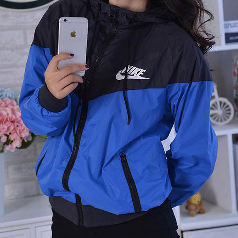 "Fashion ""NIKE"" Hooded Zipper Cardigan Sweatshirt Jacket Coat Windbreaker Sportswear Blue"