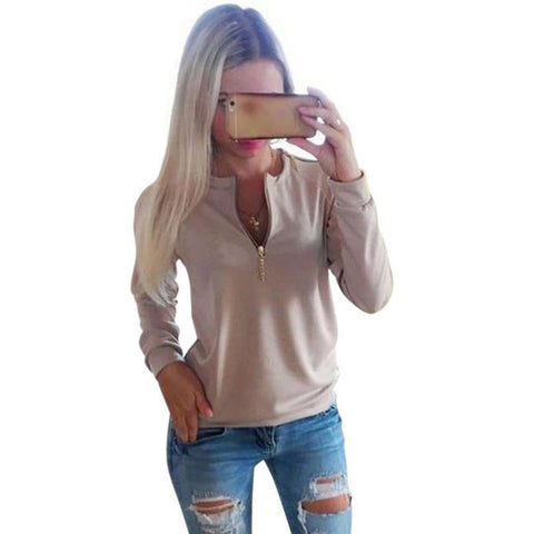 2016 Casual Ladies V-Neck Zipper Long Sleeve Hoodie Women Autumn Winter Jumper Pullover Tops Women Casual Clothing Grey Pink