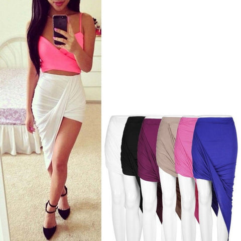 Draped Asymmetrical High Waisted Stretch Bodycon Low Mini Maxi Skirts New