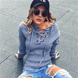 Lace up Autumn Winter Sweaters Women Casual Loose Ribbed Knitted Knitwear Sexy jumper Elastic hem Pullovers Sweaters BZ982793