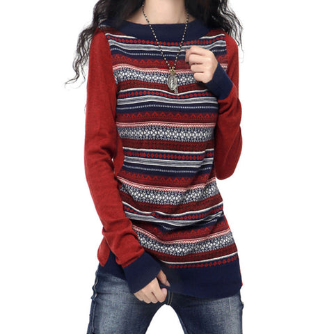 2016 Fashion Autumn Winter Cashmere Blend Sweaters Women O-Neck Full Sleeve Retro Striped Knitted Pullover Female Clothes