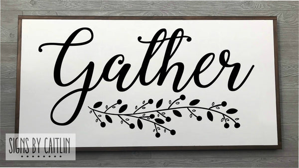 Gather Framed Wood Sign {White Sign}