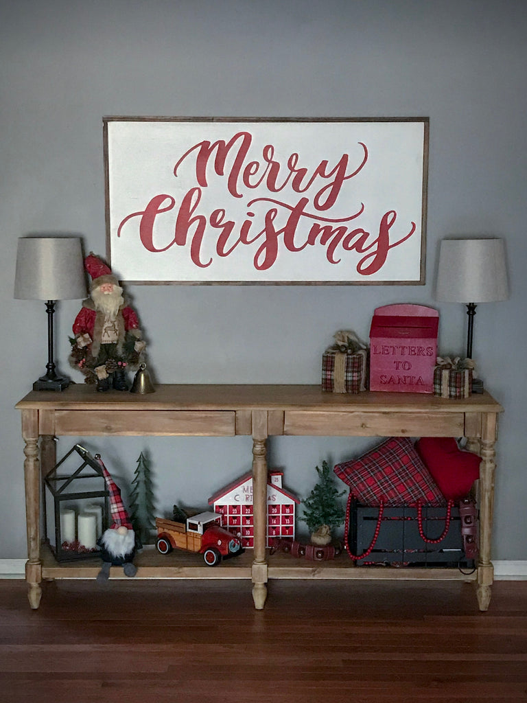 Merry Christmas Framed Wood Sign {White Sign}
