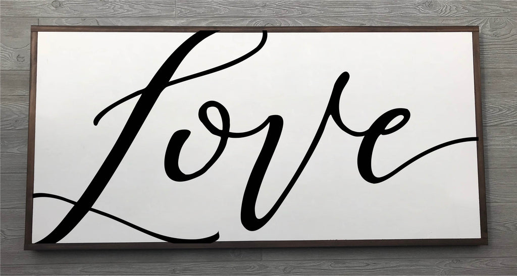 Love Framed Wood Sign {White Sign}